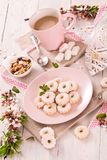 Canestrelli biscuits. Canestrelli biscuits with icing sugar stock photography
