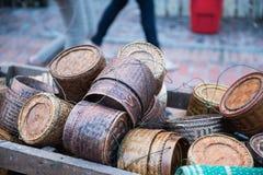 Canestri di legno fatti a mano Fotografie Stock