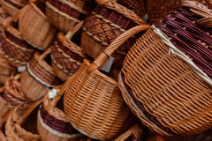 Canestri di vimini sulla vendita Fotografia Stock