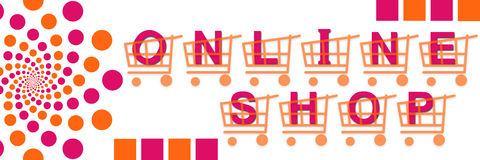 Canestri online del negozio rosa arancioni Fotografia Stock
