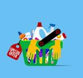 Canestro con gli oggetti di igiene Fotografie Stock Libere da Diritti