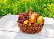 Canestro con i frutti sul tovagliolo Fotografia Stock