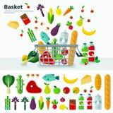 Canestro con l'insegna delle verdure e l'insieme dell'icona Immagine Stock Libera da Diritti