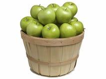 Canestro con le mele verdi Fotografia Stock
