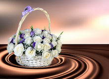 Canestro con le rose bianche su un fondo astratto Fondo 3D Fotografia Stock Libera da Diritti