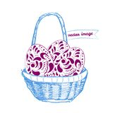 Canestro con le uova di Pasqua - illustrazione di vettore Immagini Stock