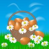 Canestro con le uova marroni sull'erba Fotografie Stock Libere da Diritti