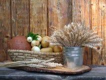 Canestro con le verdure ed il grano Fotografia Stock Libera da Diritti