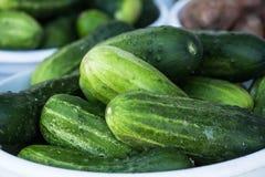 Canestro dei cetrioli al mercato degli agricoltori Immagini Stock Libere da Diritti
