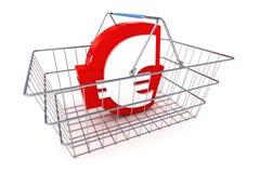 Canestro dell'euro di vendita Immagine Stock Libera da Diritti