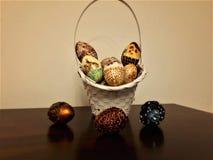 Canestro dell'uovo di Pasqua, ilustration, ambiti di provenienza Fotografie Stock