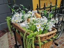 Canestro della bici riempito di fiori Immagine Stock