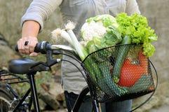 Canestro della bicicletta riempito di varie verdure immagini stock