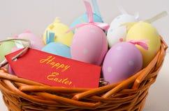 Canestro della Polka Dot Easter Eggs Immagine Stock Libera da Diritti