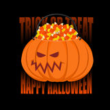 Canestro della zucca per Halloween Trucco o ossequio Caramella del cereale per ter Fotografia Stock Libera da Diritti