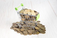 Canestro delle monete di oro Fotografie Stock