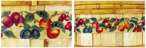 Canestro di frutta di legno tessuto bambù del fondo Immagini Stock
