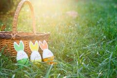 Canestro di legno con le bugie gialle e verdi dell'arancia, delle uova sull'erba verde della molla a luce solare Pasqua felice! D fotografia stock