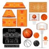 Canestro di pallacanestro, cerchio, palla, tabellone segnapunti con i numeri, campi su fondo bianco Fotografie Stock