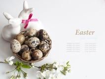 Canestro di Pasqua con le uova di Pasqua su fondo bianco Immagini Stock Libere da Diritti