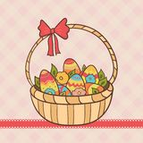 Canestro di Pasqua con le uova ed i fiori Fotografie Stock Libere da Diritti