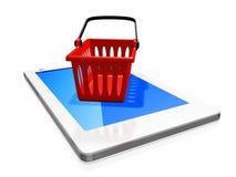 Canestro di plastica rosso di trasporto sullo Smart Phone bianco Fotografia Stock