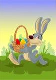 Canestro di trasporto del coniglietto di pasqua con le uova di Pasqua Immagine Stock Libera da Diritti