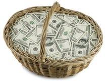 Canestro di vimini dei soldi Fotografia Stock