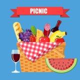 canestro di vimini di picnic Immagine Stock Libera da Diritti