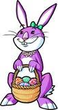 Canestro Girly della tenuta del coniglietto Immagine Stock