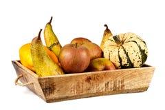 Canestro isolato in pieno dei frutti di autunno Fotografia Stock