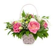 Canestro rosa delle rose Fotografie Stock
