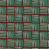 Canestro verde dipinto a mano tessere modello senza cuciture su fondo marrone rossiccio royalty illustrazione gratis