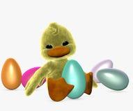 Caneton de Pâques avec des oeufs Photos libres de droits
