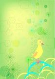 Caneton sur un fond vert Illustration Libre de Droits