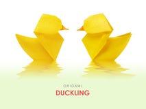 Canetons jaunes d'origami Image libre de droits