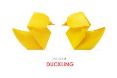 Canetons jaunes d'origami Image stock