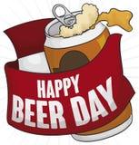 Canette de bière avec le ruban de salutation et calendrier pour le jour de bière, illustration de vecteur illustration libre de droits