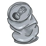Canette de bière chiffonnée par bande dessinée de vecteur illustration libre de droits