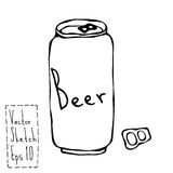 Canette de bière et griffonnage Sketsh de clé Illustration de vecteur de barre illustration de vecteur