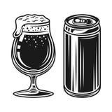 Canette de bière et verre avec des éléments de vecteur de mousse illustration libre de droits