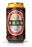 Canette de bière foncée d'isolement sur le fond blanc illustration stock