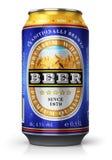 Canette de bière légère de blé d'isolement sur le fond blanc illustration stock
