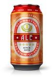 Canette de bière rouge de bière anglaise d'isolement sur le fond blanc illustration stock