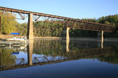 Caney Fork and Boat Moorage. Boat Moorage ont he Caney Fork the Cumberland Plateau Tennessee Stock Photo