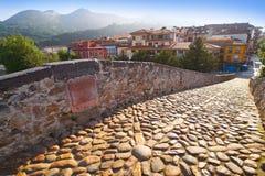 Cangas de Onis罗马桥梁在阿斯图里亚斯西班牙 库存图片