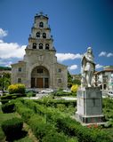 CANGAS DE ONIS.ASTURIAS,SPAIN. CANGAS DE ONIS. Statue of Don Pelayo in front of church.Around the year 722 A.D. a Visigothic nobleman named Don Pelayo, with a royalty free stock photo