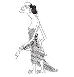Canggik. A character of traditional puppet show, wayang kulit from java indonesia stock illustration