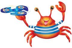 Cangrejo alegre lindo de la historieta con el hilandero ilustración del vector