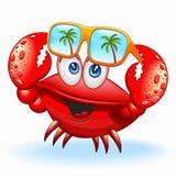 Cangrejo con el ejemplo feliz del vector del personaje de dibujos animados de las gafas de sol libre illustration